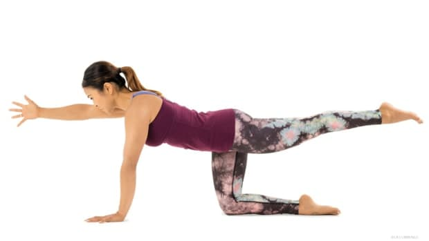 Stretches for Tailbone pain relief: Sunbird Pose