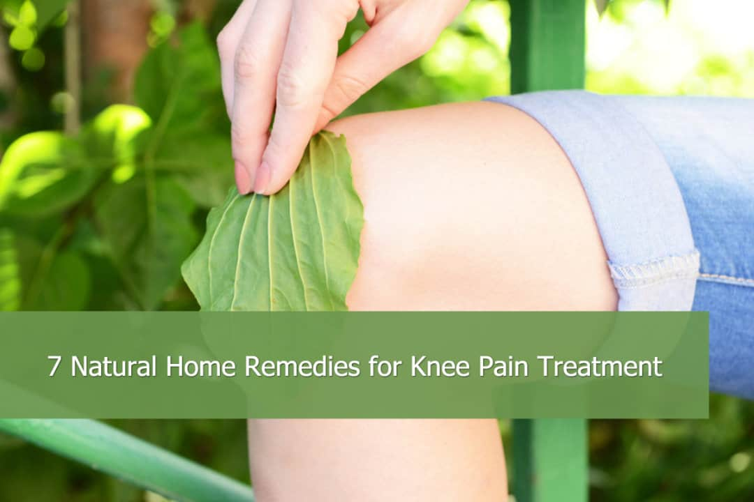 someone putting a leaf on their kneecap for knee pain relief